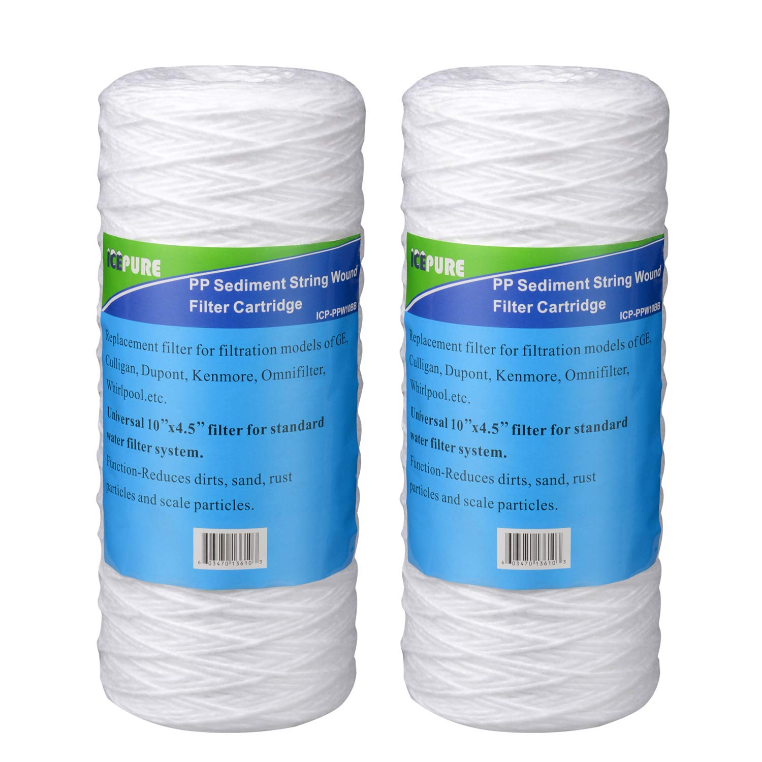 """Holiday Promotions Icepure ICP-PPW10BB-2 Pack 10"""" x4.5"""" Whole House Big Blue Sediment String Wound Water Filter Compatible for Pentek WP-BB Series"""