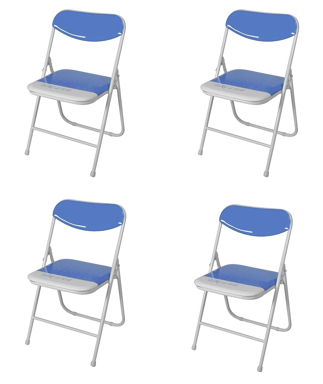 Due-home (Candy) Pack 4 sillas Plegables Estructura metálica y PVC Brillante 47x46x76 cm de Altura (Naranja)