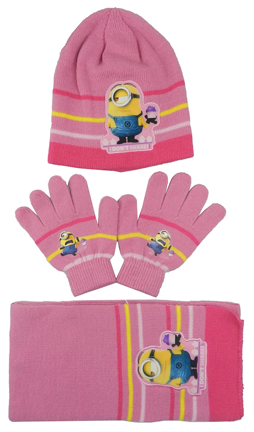 Boys & Girls Despicable Me Minions Next Big Thing Hat Scarf & Gloves Set sizes from 3 to 10 Years-780-182