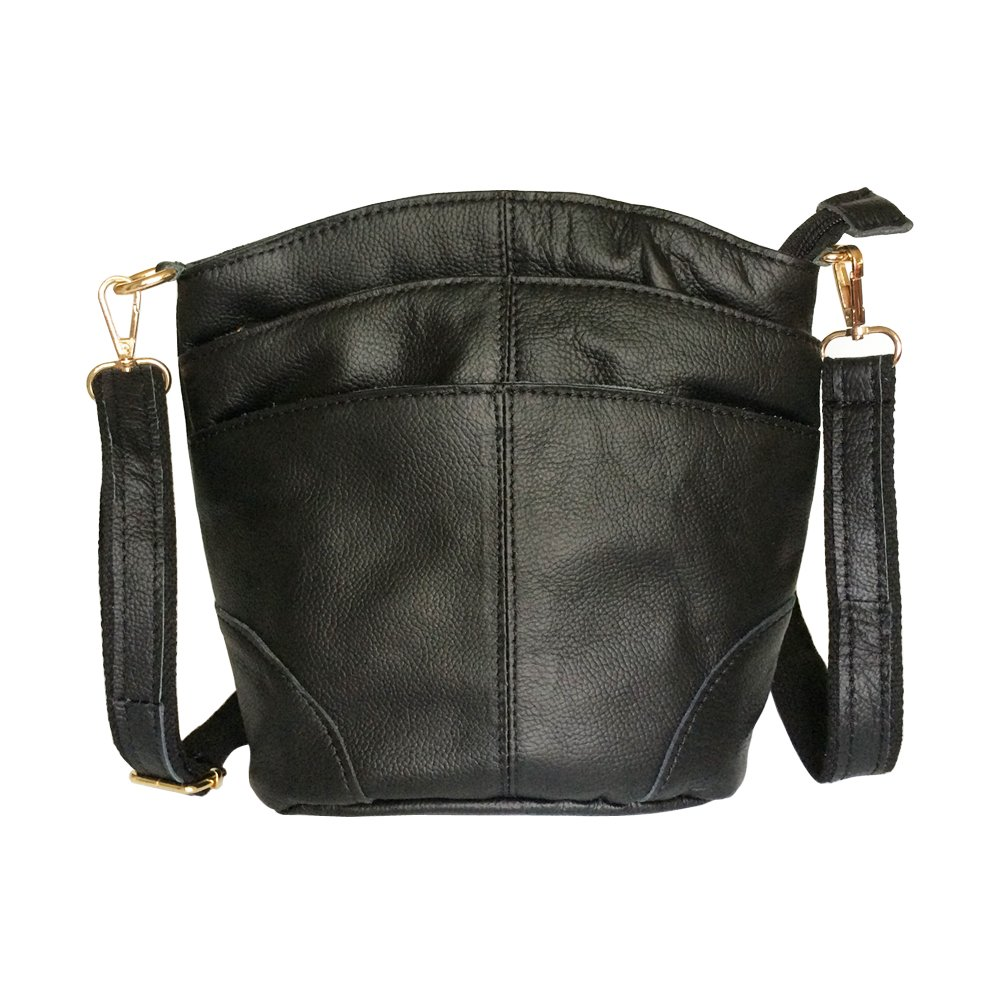 FanCarry Women's Genuine Leather Triple Zipper Small Crossbody Purse Bag (Black-new)