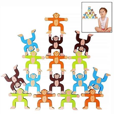LHKJ Equilibrio Bloques de Madera de Apilamiento Bloque de Construccion, Monos Madera Bloques de Apilamiento, para Desarrollar la Inteligencia ...
