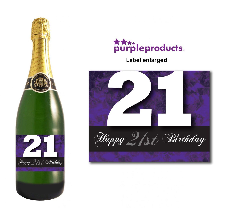 Purple Happy 60th Birthday Glossy Wine /& Champagne Bottle Gift Present Label