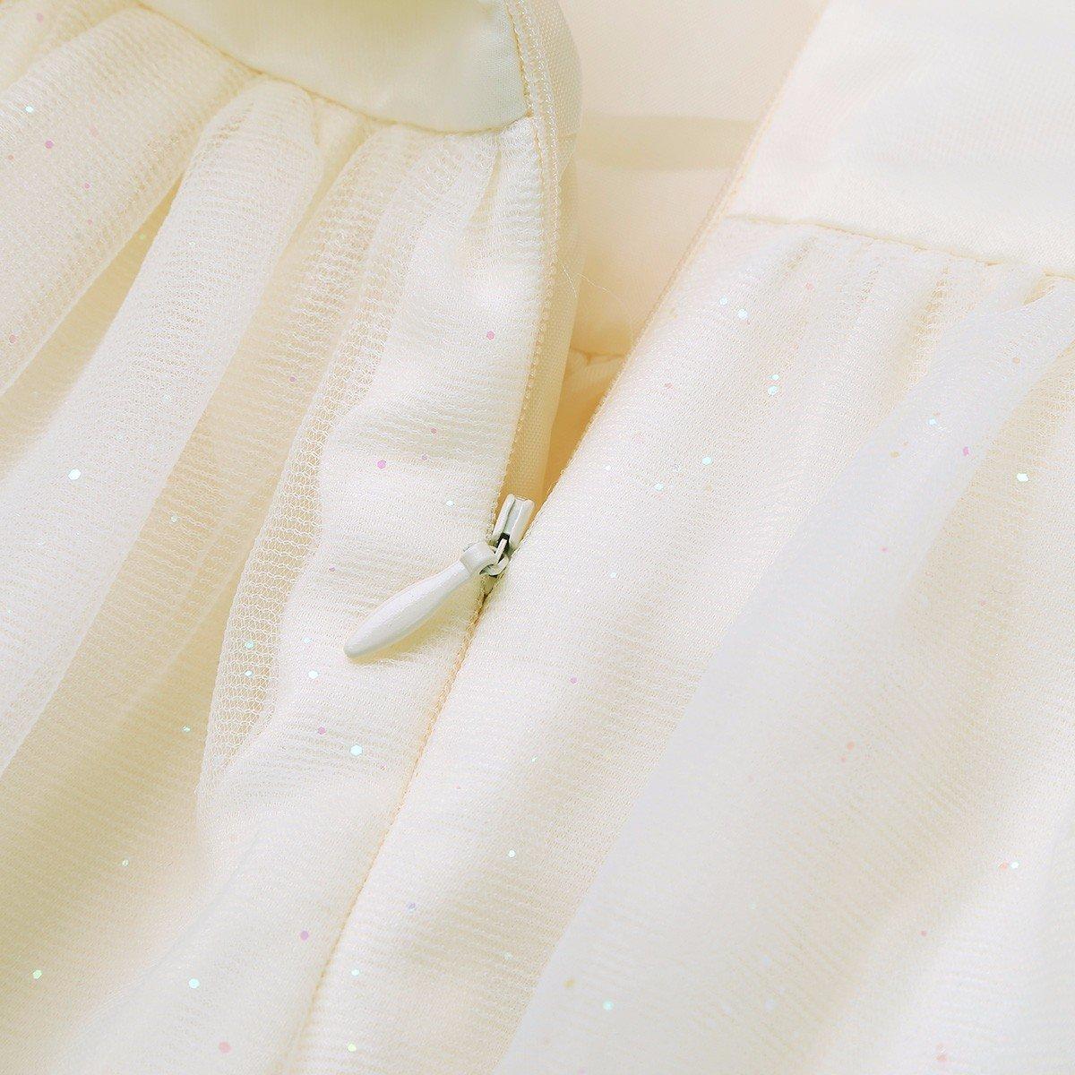 TiaoBug B/éb/é Fille Robe de Bapt/ême Fleur Rose Robe de Princesse Organza Robe de C/ér/émonie Soir/ée Anniversaire Tutu Bretelle Robe Jupe Tulle avec Pailletes 0-24 Mois
