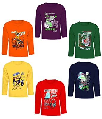 0c569e71327a2 Kiddeo Boys Full Sleeve t Shirts(02)(Pack of 6)  Amazon.in  Clothing ...