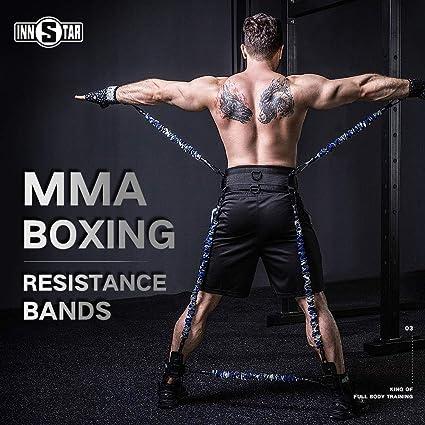 INNSTAR MMA Boxing Training Resistance Band Set Enhance Explosive Power  Strength Training Equipment for Muay Thai,Karate