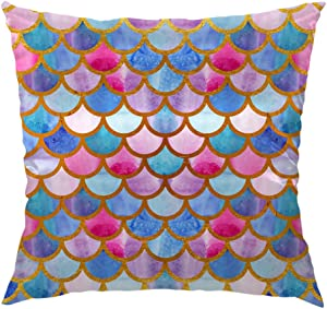 HGOD DESIGNS Mermaid Scales Pillow Case,Watercolor Mermaid Fish Scales Design Satin Cushion Cover Square Standard Home Decorative for Men/Women 18x18 inch Pink,Blue