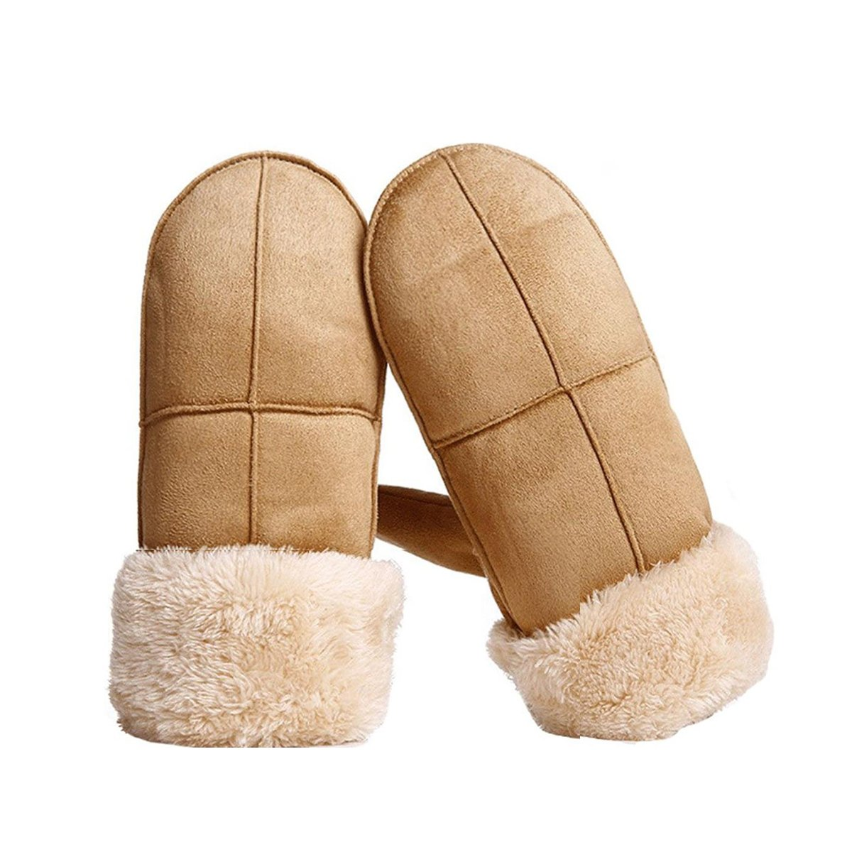 OblingミトンレディースThick Warm Winter Gloves with Plush Cuff and Longロープ B078W7RRP2 カーキ