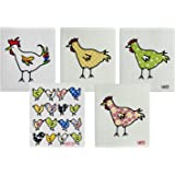 Wet-It! Swedish Dishcloth Set of 5 (Chickens, Rooster and Chicks)