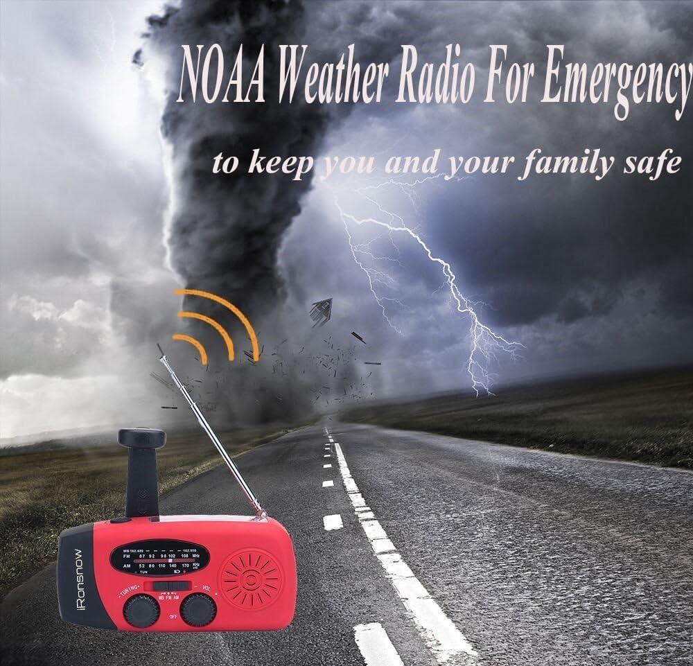(Classic Creator) iRonsnow Solar Emergency NOAA Weather Radio Dynamo Hand Crank Self Powered AM FM WB Radios 3 LED Flashlight 1000mAh Smart Phone Charger Power Bank(Red): Electronics