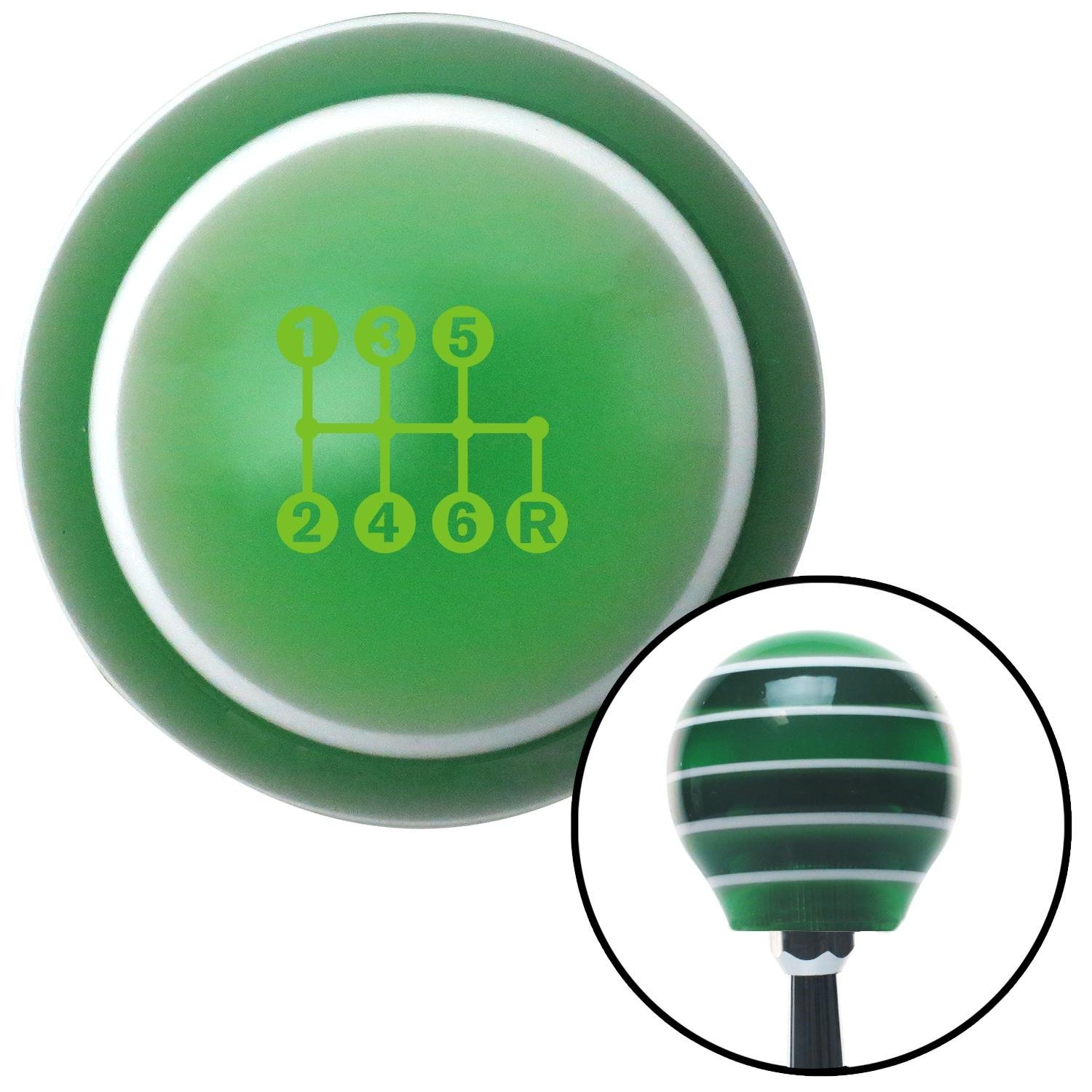 Green 6 Speed Shift Pattern - Dots 41n Green Stripe with M16 x 1.5 Insert American Shifter 275588 Shift Knob