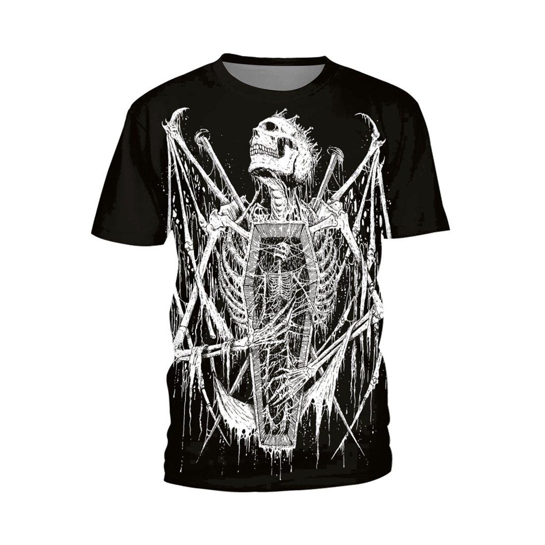 SEVENWELL Unisex Casual T-Shirt Fashion Short Sleeve Loose Fine T-Shirt Popular Skull Pattern XL Death