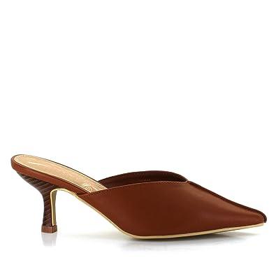 fc40542e20 Seven7 Women's Melania Kitten Heel Mule Pointy Toe Vegan Leather Dress  Slip-On Shoes Saddle