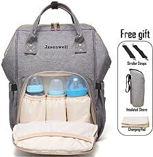 Mochila Pañalera Multifunciones para Viajes/Mochila Para Lactancia a Prueba de Agua Para el Cuidado Gran Capacidad de Pañales Cambiador de Bolsadel Bebe (Gris)