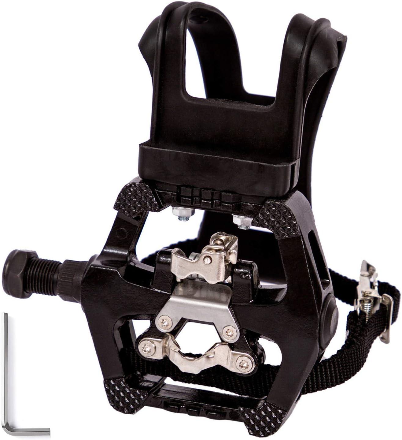 COZYROOMY Pedales SPD - Pedal híbrido con Jaula y Correa, Adecuado para Bicicletas Ejercicio Interior, Bike Spinning y Todas Las Bicicletas con un Eje 9/16 Pulgadas