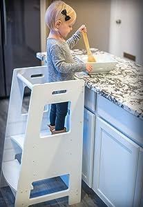 KidzWerks Child Standing Tower - White Child Kitchen Helper Step Stool with Adjustable Standing Platform - Wooden Montessori Standing Tower - Kid's Step Stool