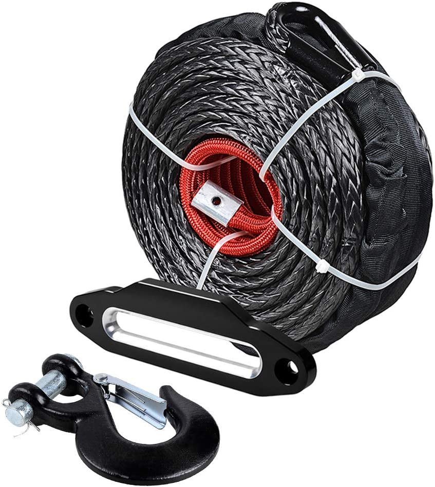 "Astra-Depot Black Winch Seil Synthetic Uhmwpe 20,500 Lb 95' X 3/8"" mit Sleeve Protector + Forged Steel Hook + Hawse Fairlead 10"" Aluminum für Atv Utv Truck Off-Straße 4X4 Tow"