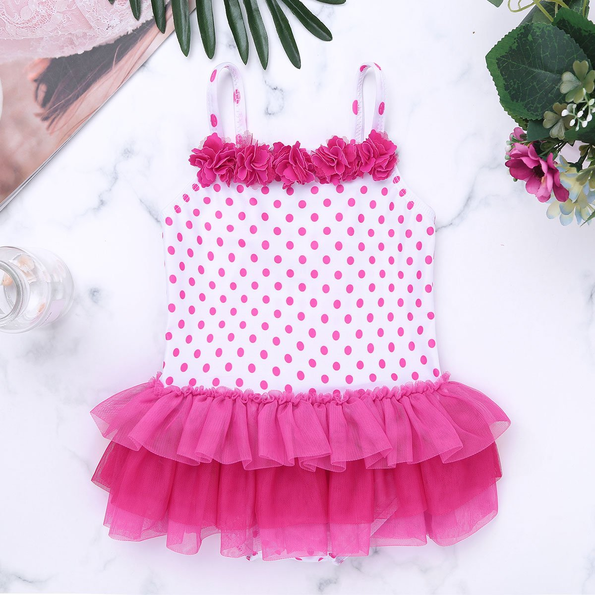 iixpin Infant Baby Girls One Piece Swimsuit Shoulder Straps Polka Dots Flowers Tiered Swimwear Bathing Suit