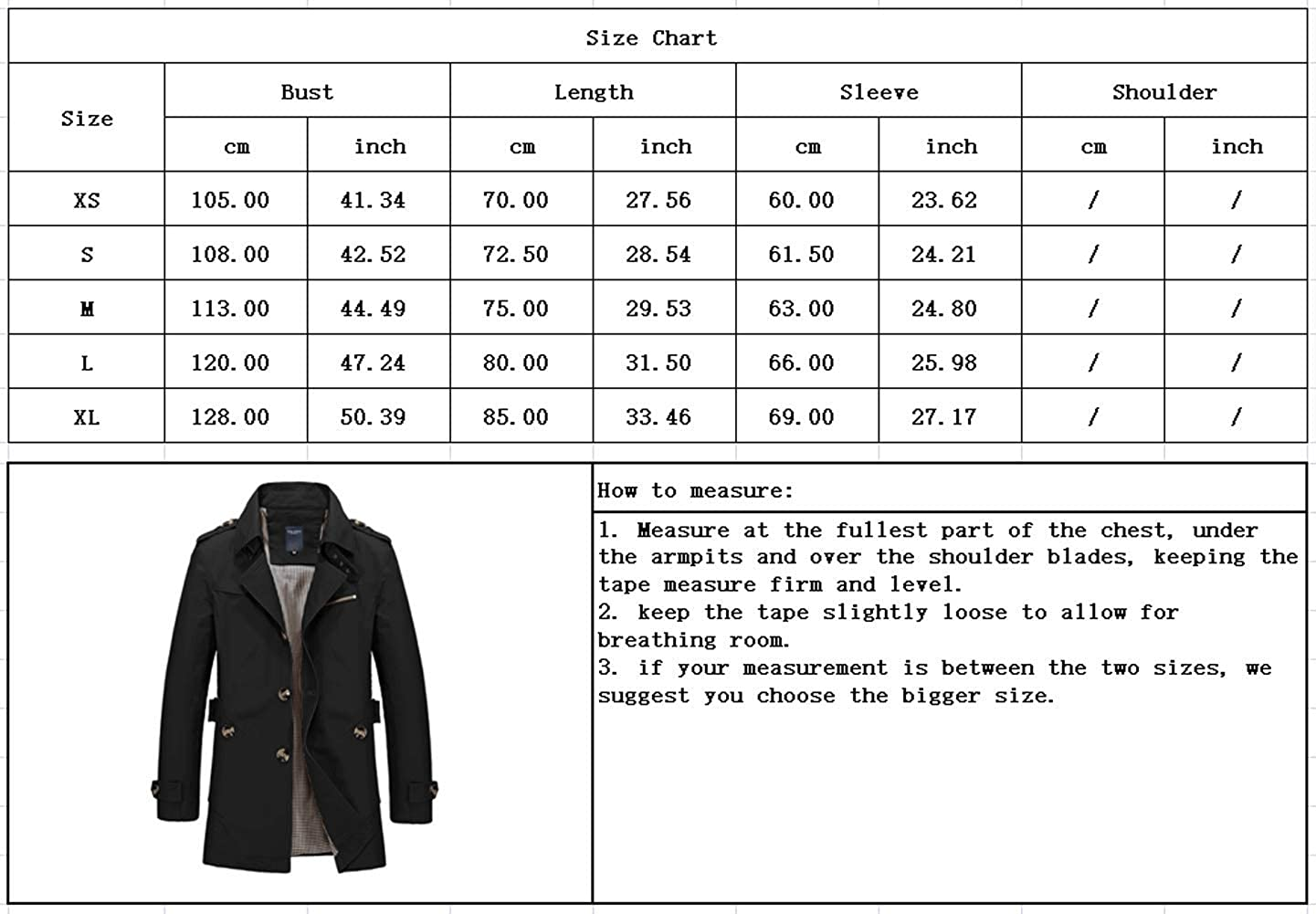 chouyatou Mens Slim Notched Collar Single Breasted Cotton Jacket Office Trench Coat
