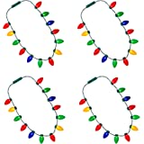 LED Light Up Christmas Bulb Necklace Party Favors (4 Pack - 13 Bulbs)