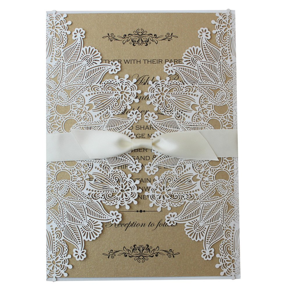 White Lace Invitation, Rustic Wedding Invitation, Unique Custom Printing Wedding Invitation Cards - Set of 50