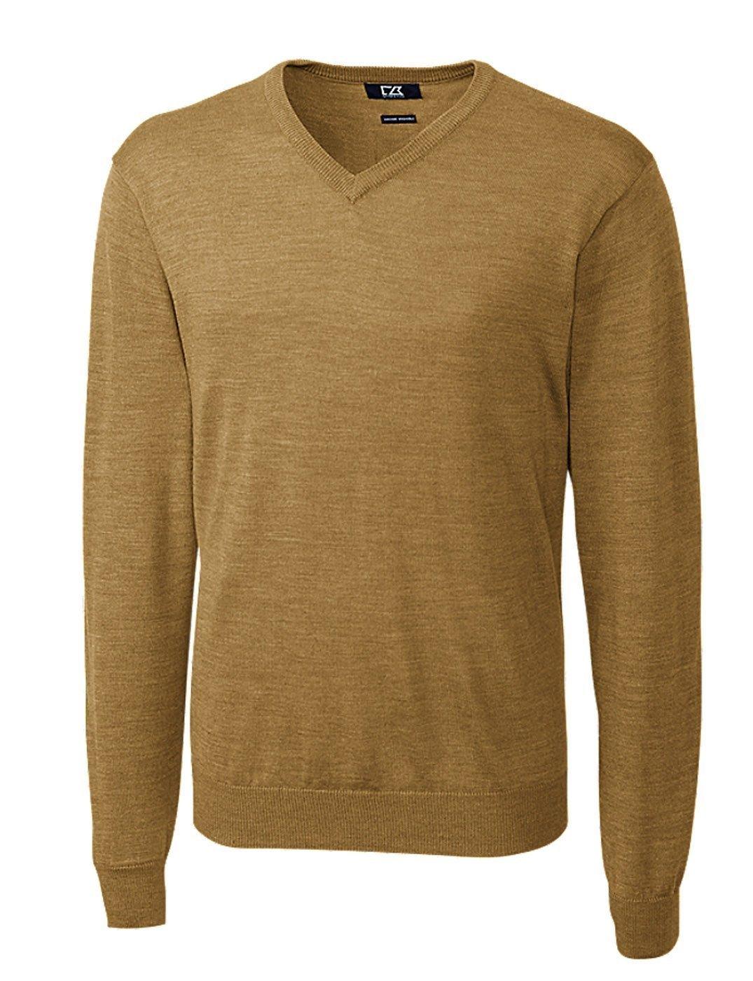 Cutter & Buck Men's Big-Tall Douglas V-Neck Sweater, Domino, 2X/Tall