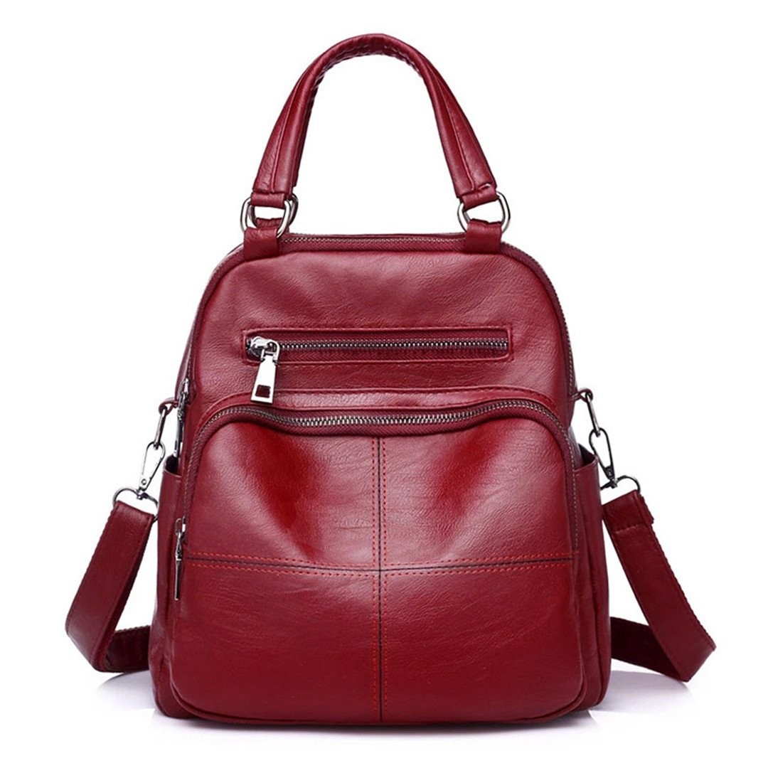 Women Casual Tote Handbags Large Capacity Ladies PU Leather Shoulder Bag Big Travel Student Crossbody Messenger Bag Red 20cmMax Length30cm