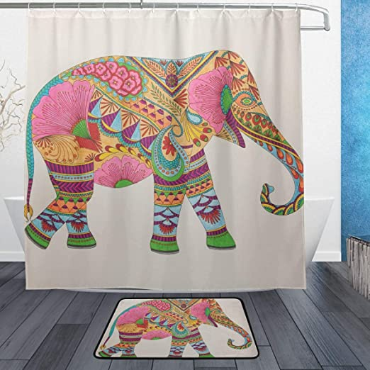 Bath Shower Curtain Sets Mandala Elephant Bathroom Waterproof Fabric /& Bath Mat