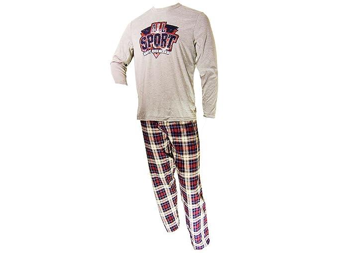 Pijama punto manga larga Hombre Cheviot-Granate: Amazon.es: Ropa y accesorios