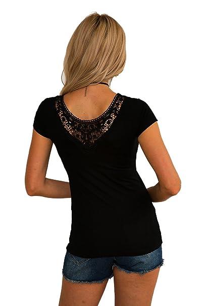 b155c2fcd94d Damen Sexy T-Shirt Tops Bluse Oberteil Mit Spitze  Amazon.de  Bekleidung