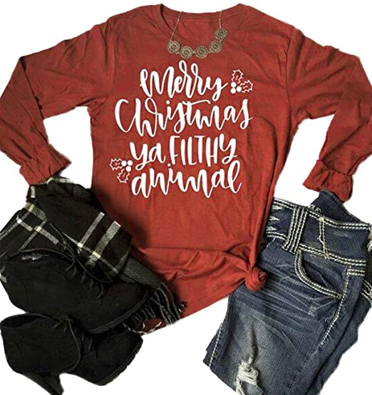 12a391d3 Merry Christmas Ya Filthy Animal T-Shirt Women Long Sleeve Letter Print  Tops Xmas Gift