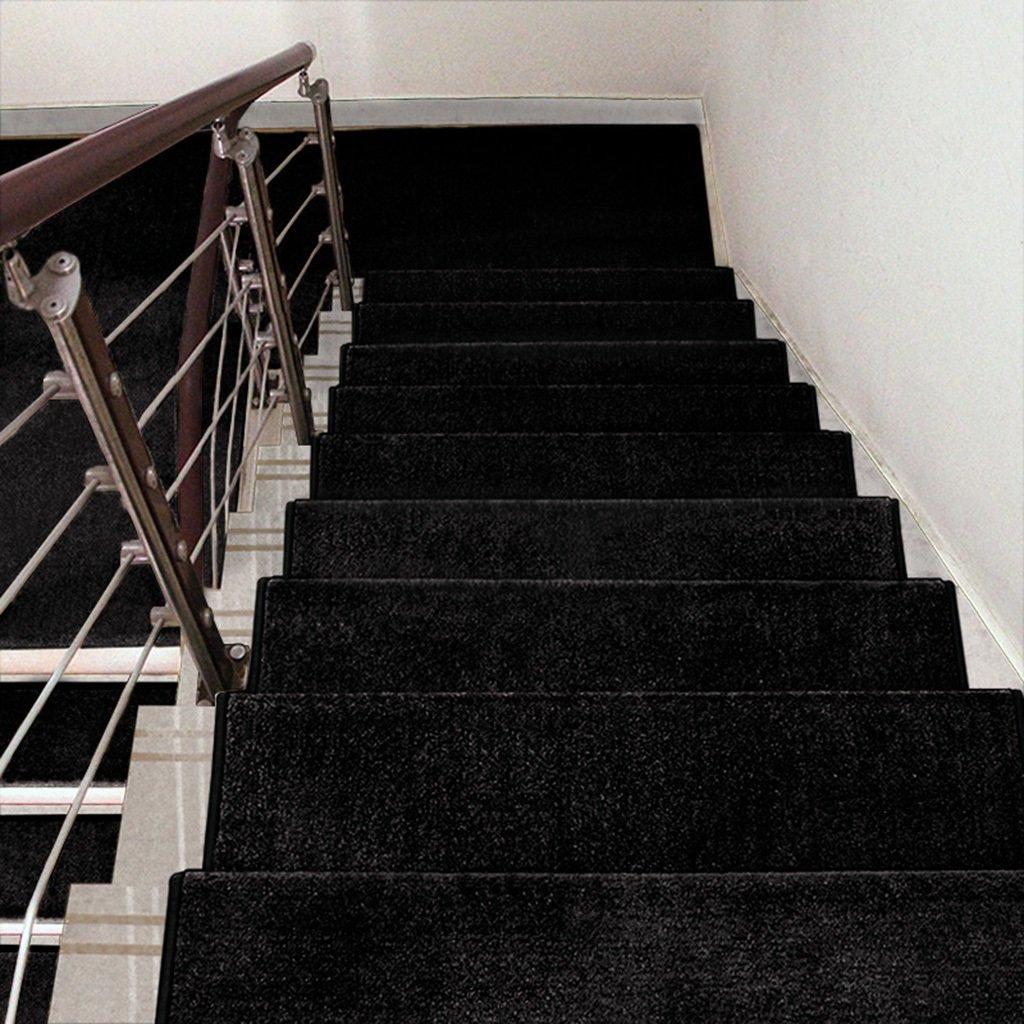 BBYE Stufenmatten Selbstklebend Anti-Rutsch-Massivholz Haushalt Stufen-Pad Extra Verdicken Solid Farbe Treppen-Teppich Farbe Größe Optional (Farbe   Schwarz, größe   10 Pieces-75  24cm)