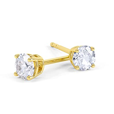 34da012bff49b4 Eternity 2ct White Sapphire Silver Stud Earrings (YELLOW GOLD): Jian  London: Amazon.co.uk: Jewellery
