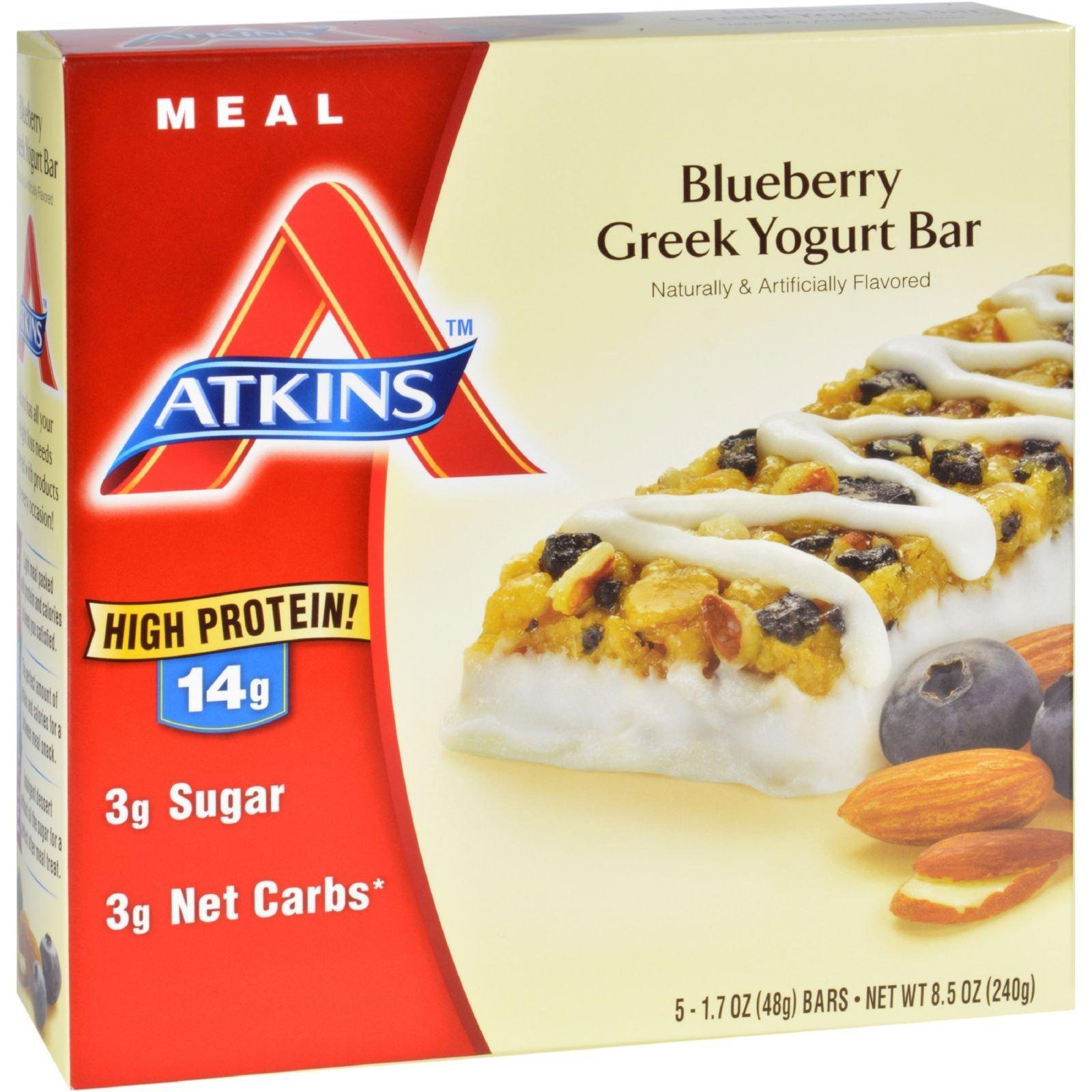 Atkins Advantage Bar - Blueberry Greek Yogurt - 5 ct - 1.7 oz - Case of 6 - High Protein 14g - Low Sugar