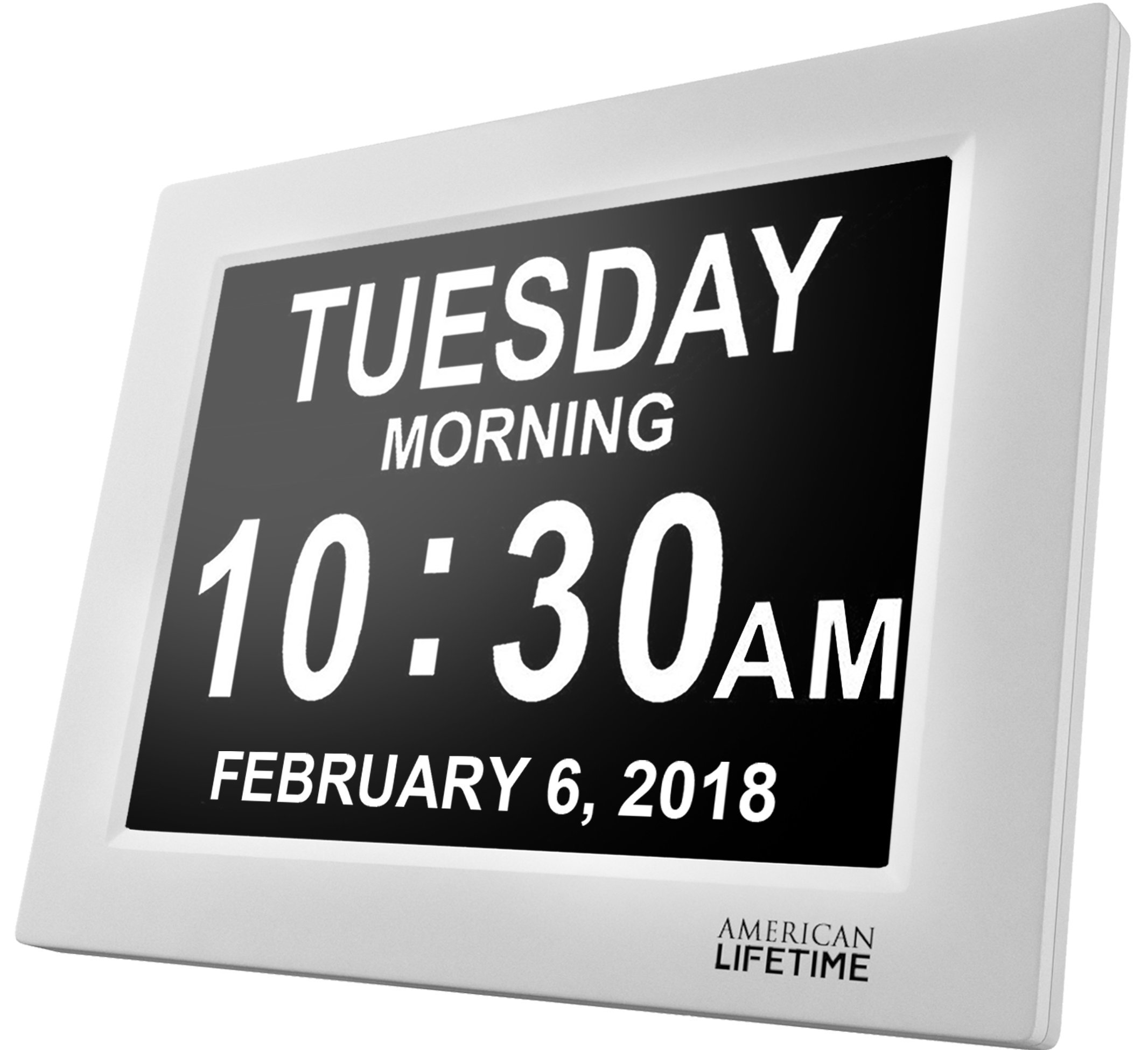 American Lifetime [Newest Version] Day Clock - Extra Large Impaired Vision Digital Clock with Battery Backup & 5 Alarm Options - White by American Lifetime