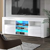 Artiss 160cm Length TV Cabinet | LED Wooden Entertainment Unit | White
