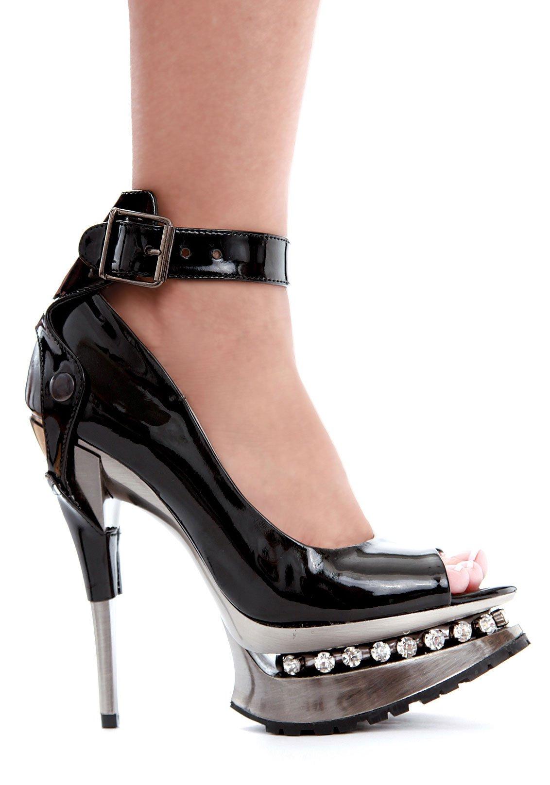 ELLIE 527-SARAH Women 5'' Heel Rhinestone Platform Peep Toe Pump Ankle Strap, Color:BLACK, Size:7