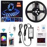 Simfonio Alexa LED Strip Lights - LED Lights Strip Compatible with Alexa, Google Home, IFTTT, WiFi Smart Phone Wireless Controller - RGB LED Light Strip 5m Waterproof 5050 150Leds with Remote Full Kit