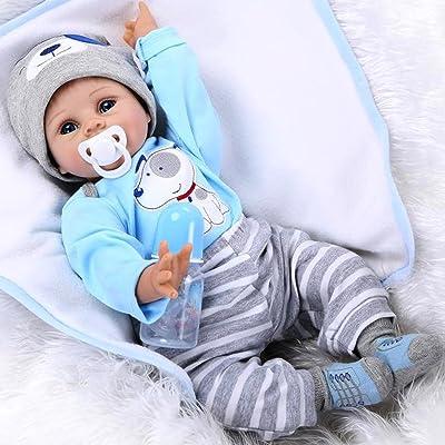 AIBAOLIAN 22 Pulgadas 55cm Muñecas Reborn Baby Dolls Reborn Niño Suave De Silicona Realista Juguete Bebe Reborn con Ojos Azules Regalo: Juguetes y juegos