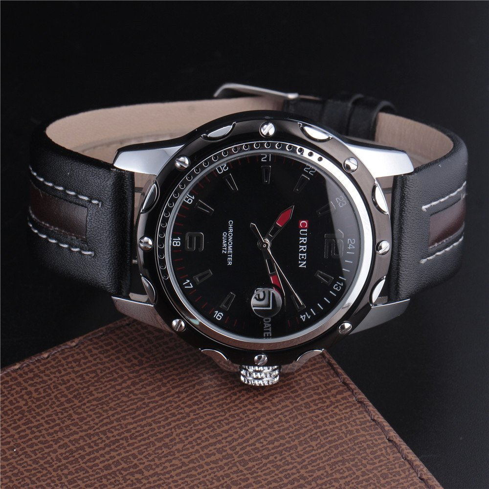 2b3a394e5 Curren Men's watch set with black leather and interior color (black and  white): Amazon.ae: Merakiinternational_uae