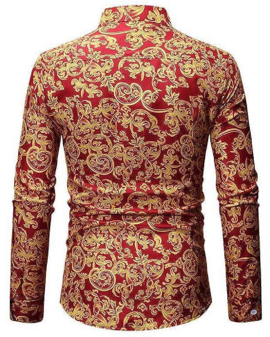 Generic Mens Autumn Classic Fit Floral Shirt Casual Button Down Dress Shirts