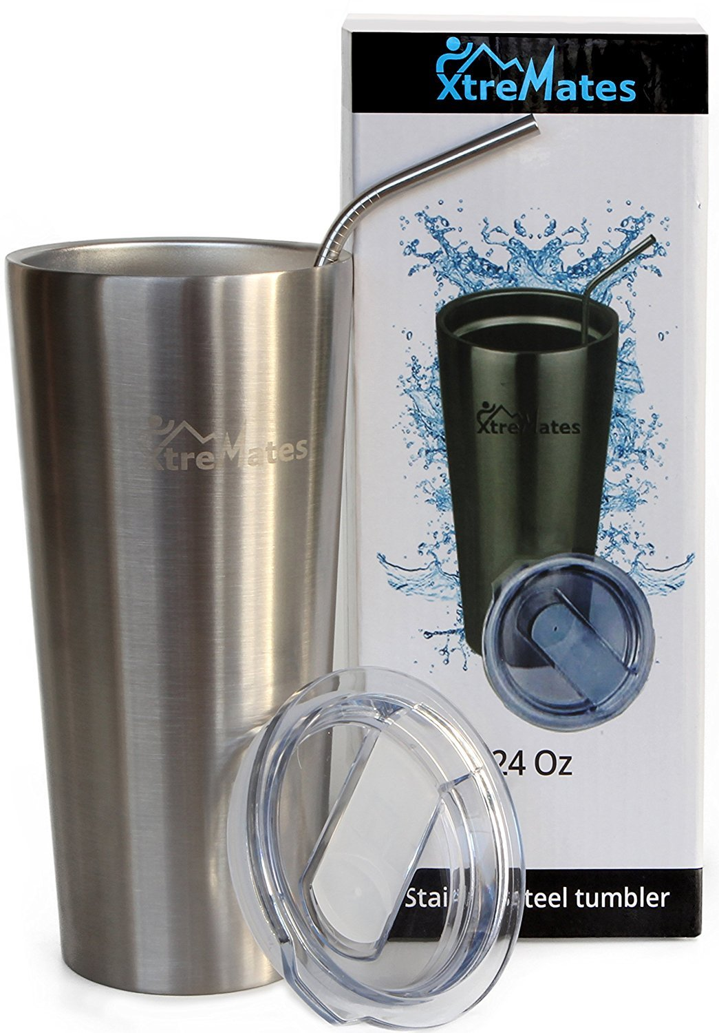 265c7f44862 Xtremates Stainless Steel 24Oz Tumbler--Hot & Cold Double Wall Insulated  Premium Newest Straight Outer Shape - X-durable Tritan Spill/Splash Proof  slider ...
