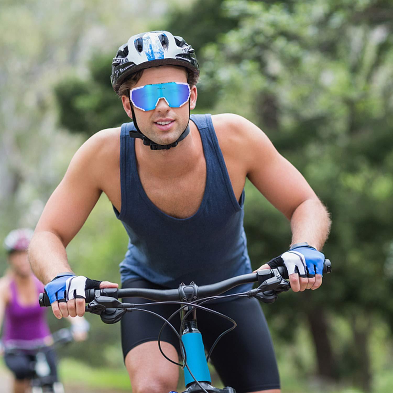 BRZSACR Lunettes de Cyclisme Lunettes de Soleil Polaris/ées avec 3 Verres Interchangeables Lunettes de Sport UV400 pour Les Activit/és de Plein Air Courir Faire du V/élo