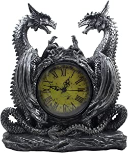 Mythical Dragon Duo Desk Clock in Metallic Look and Antique Face with Roman Numerals for Desktop, Shelf & Mantle As Gothic Medieval Decor Or Decorative Office Gifts