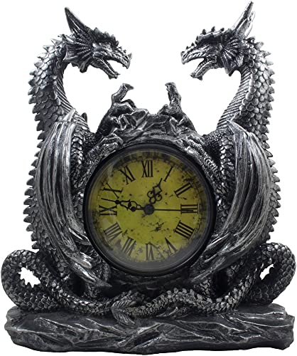 Mythical Dragon Duo Desk Clock in Metallic Look and Antique Face with Roman Numerals for Desktop, Shelf Mantle As Gothic Medieval Decor Or Decorative Office Gifts