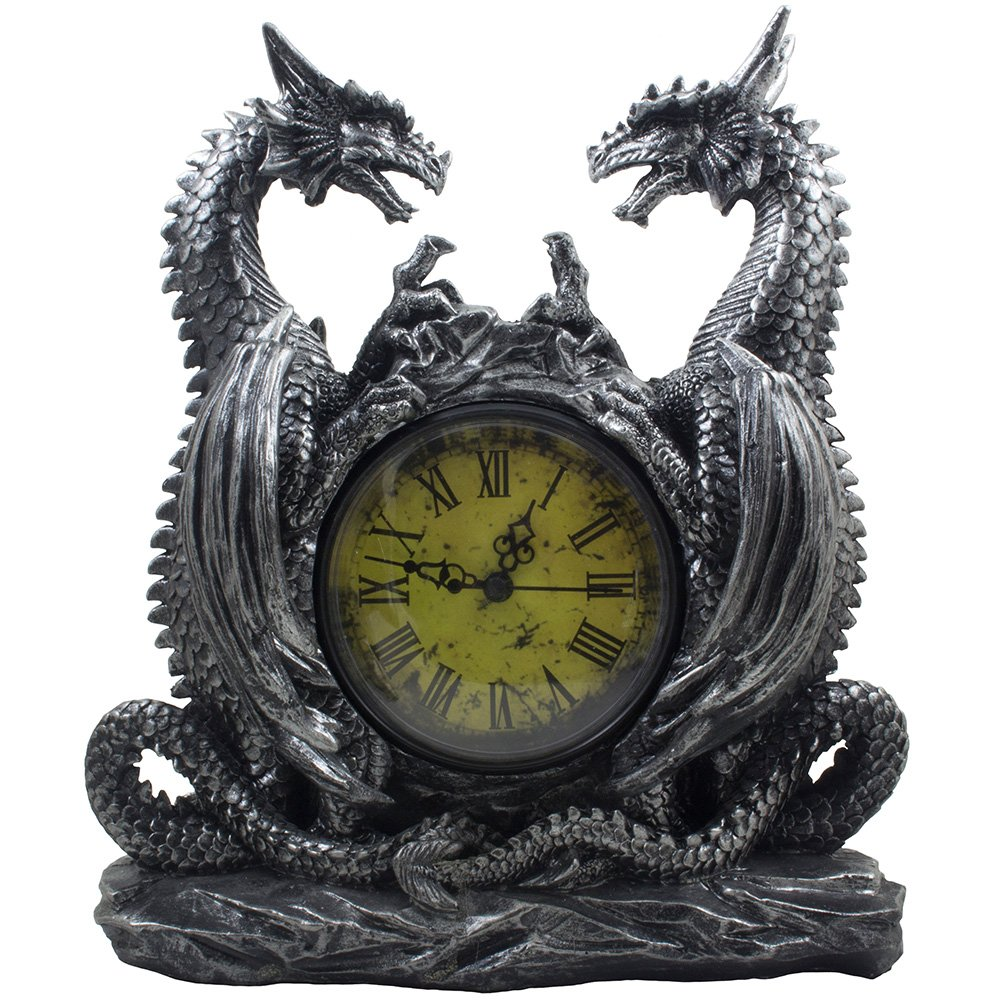 Mythical Dragon Duo Desk Clock in Metallic Look and