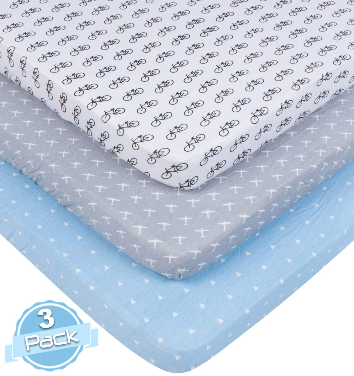 BaeBae Goods Pack n Play Playard Sheet Set | 3 Pack | 100% Super Soft Jersey Knit Cotton (150 GSM) | Portable Mini Crib Mattress Fitted Sheets for Boys & Girls BaeBae & Company
