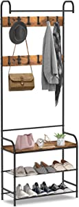 alvorog Coat Rack, Shoe Bench, Vintage 3-in-1 Hall Tree, Shoe Rack for Entryway with 3-Tier Storage Shelf and 12 Hooks Removable, Industrial Accent Furniture with Steel Frame - 28in x 12.6in x 72.8in