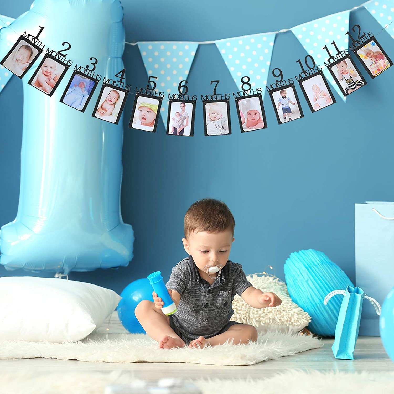 1st Birthday Banner for 1 Month to 12 Months Growth Record Monthly Milestone Black Photo Banner 12 Month Photo Banner for First Birthday Black Baby Boy Happy Birthday Flag