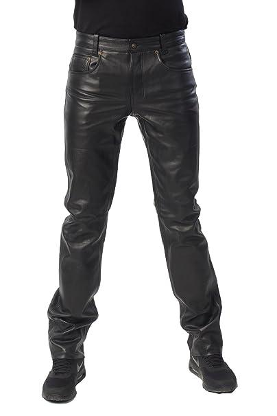 Bohmberg - Pantalones de Cuero-se Ajusta como un par de Jeans-Muy Bueno, 100% Cuero genuin