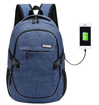 Mochila escolar de nailon, con puerto de carga USB, para portátil y deportes, para adolescentes, hombre, azul, Large: Amazon.es: Deportes y aire libre